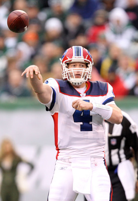 EAST RUTHERFORD, NJ - JANUARY 02:  Brian Brohm #4 of the Buffalo Bills passes against the New York Jets at New Meadowlands Stadium on January 2, 2011 in East Rutherford, New Jersey.  (Photo by Michael Heiman/Getty Images)