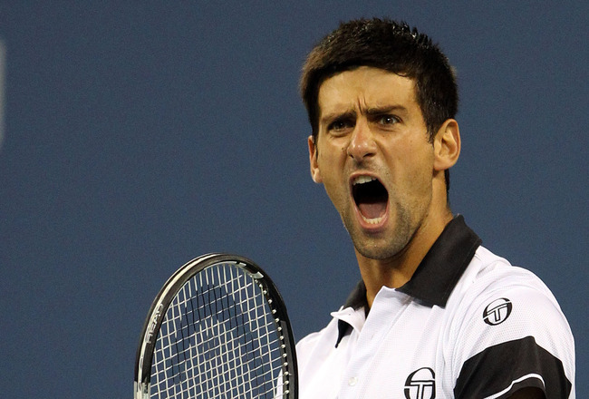 NEW YORK - SEPTEMBER 13:  Novak Djokovic of Serbia reacts after winning the second set against Rafael Nadal of Spain during their men's singles final match on day fifteen of the 2010 U.S. Open at the USTA Billie Jean King National Tennis Center on Septemb