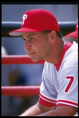 5 Mar 1997:  Philadelphia Phillies manager Terry Francona looks on from dugout during spring training game against the Toronto Blue Jays in Clearwater, Florida. Mandatory Credit: Allsport  /Allsport