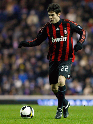 GLASGOW, UNITED KINGDOM - FEBRUARY 04:  Kaka of AC Milan in action during the friendly match between Rangers and AC Milan at Ibrox Stadium on February 4, 2009 in Glasgow, Scotland.  (Photo by Jeff J Mitchell/Getty Images)