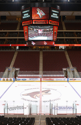 GLENDALE - JANUARY 27:  Interior view of the Glendale Arena, home of the Phoenix Coyotes on January 27, 2004, in Glendale, Arizona (Photo by Barry Gossage/Getty Images)