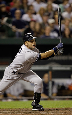 April 23, Jeter scores two runs to help the Yankees defeat Baltimore 15-3.