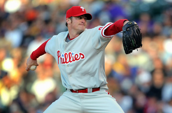 DENVER - APRIL 11:  Starting pitcher Brett Myers #39 of the Philadelphia Phillies delivers against the Colorado Rockies during MLB action at Coors Field on April 11, 2009 in Denver, Colorado.  (Photo by Doug Pensinger/Getty Images)