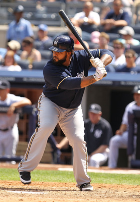 NEW YORK, NY - JUNE 30:  Prince Fielder #28 of the Milwaukee Brewers in action against the New York Yankees during their game on June 30, 2011 at Yankee Stadium in the Bronx borough of New York City.  (Photo by Al Bello/Getty Images)