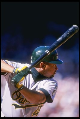 1 Oct 1995:  Outfielder Danny Tartabull of the Oakland Athletics at bat  during a game against the California Angels at Anaheim Stadium in Anaheim, California.  The Angels won the game 8-2. Mandatory Credit: J.D. Cuban  /Allsport