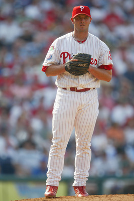 PHILADELPHIA - APRIL 18:  Billy Wagner #13 of the  Philadelphia Phillies eyes first base during the game against the Montreal Expos at Citizens Bank Park on April 18, 2004 in Philadelphia, Pennsylvania.  The Phillies defeated the Expos 5-4. (Photo by Jami