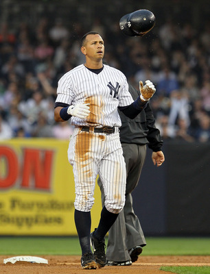 NEW YORK, NY - JUNE 24:  Alex Rodriguez #13 of the New York Yankees flips his helmet after being doubled up in the first inning against the Colorado Rockies on June 24, 2011 at Yankee Stadium in the Bronx borough of New York City.  (Photo by Jim McIsaac/G
