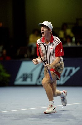 Nov 1992:  Jim Courier of the USA shouts out during the ATP Tour finals in Frankfurt, Germany. \ Mandatory Credit: Gary M. Prior/Allsport