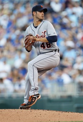 KANSAS CITY, MO - JULY 08:  Starting pitcher Rick Porcello #48 of the Detroit Tigers pitches during the 1st inning of the game against the Kansas City Royals on July 8, 2011 at Kauffman Stadium in Kansas City, Missouri.  (Photo by Jamie Squire/Getty Image