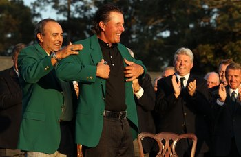 AUGUSTA, GA - APRIL 11:  Phil Mickelson and Angel Cabrera during the final round of the 2010 Masters Tournament at Augusta National Golf Club on April 11, 2010 in Augusta, Georgia.  (Photo by Streeter Lecka/Getty Images for Golf Week)