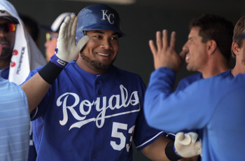 DENVER, CO - JULY 03:  Melky Cabrera #53 of the Kansas City Royals celebrates his first inning solo homerun against the Colorado Rockies during Interleague play at Coors Field on July 3, 2011 in Denver, Colorado.  (Photo by Doug Pensinger/Getty Images)