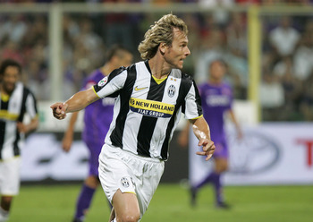 FLORENCE, ITALY - AUGUST 31:  Pavel Nedved of Juventus celebrates after a goal during the Serie A match between Fiorentina and Juventus at the Stadio Franchi on August 31, 2008 in Florence, Italy. (Photo by New Press/Getty Images)