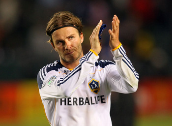 CARSON, CA - JUNE 03:  David Beckham #23 of the Los Angeles Galaxy applauds to the fans after their MLS match against D.C. United at The Home Depot Center on June 3, 2011 in Carson, California. United and the Galaxy played to a 0-0 draw.  (Photo by Victor