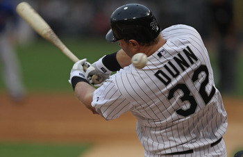 CHICAGO, IL - JUNE 20: Adam Dunn #32 of the Chicago White Sox fouls off a pitch against the Chicago Cubs at U.S. Cellular Field on June 20, 2011 in Chicago, Illinois. The Cubs defeated the White Sox 6-3. (Photo by Jonathan Daniel/Getty Images)