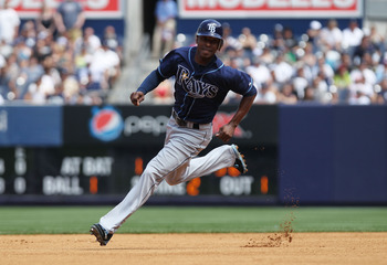 NEW YORK, NY - JULY 10:  BJ Upton #2 of the Tampa Bay Rays against the New York Yankees at Yankee Stadium on July 10, 2011 in the Bronx borough of New York City.  (Photo by Nick Laham/Getty Images)