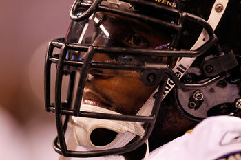 INDIANAPOLIS - JANUARY 16:  Ray Lewis #52 of the Baltimore Ravens looks on before taking on the Indianapolis Colts in the AFC Divisional Playoff Game at Lucas Oli Stadium on January 16, 2010 in Indianapolis, Indiana.  (Photo by Jonathan Daniel/Getty Image