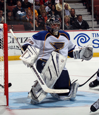 ANAHEIM, CA - JANUARY 12:  Ty Conklin #29 of the St. Louis Blues skates against the Anaheim Ducks at the Honda Center on January 12, 2011 in Anaheim, California.  (Photo by Bruce Bennett/Getty Images)