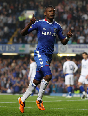 LONDON, ENGLAND - APRIL 20: Salomon Kalou of Chelsea celebrates scoring the second goal during the Barclays Premier League match between Chelsea and Birmingham City at Stamford Bridge on April 20, 2011 in London, England.  (Photo by Julian Finney/Getty Im