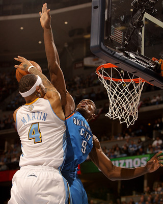 DENVER, CO - APRIL 25:  Serge Ibaka #9 of the Oklahoma City Thunder fouls Kenyon Martin #4 of the Denver Nuggets in Game Four of the Western Conference Quarterfinals in the 2011 NBA Playoffs at Pepsi Center on April 25, 2011 in Denver, Colorado. NOTE TO U