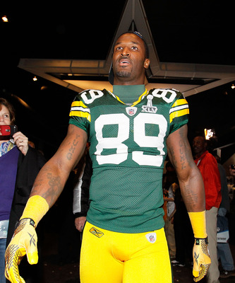 ARLINGTON, TX - FEBRUARY 06:  James Jones #89 of the Green Bay Packers celebrates after the Packers defeated the Pittsburgh Steelers 31-25 during Super Bowl XLV at Cowboys Stadium on February 6, 2011 in Arlington, Texas.  (Photo by Kevin C. Cox/Getty Imag