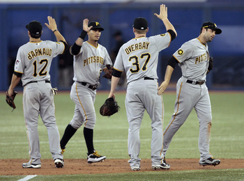 TORONTO, CANADA - JUNE 28:  Chase D'Arnaud #12, Ronny Cedeno #5, Lyle Overbay #37 and Neil Walker #18 of the Pittsburgh Pirates celebrate win against the Toronto Blue Jays during MLB action at the Rogers Centre June 28, 2011 in Toronto, Ontario, Canada. (