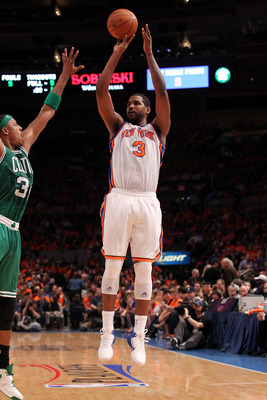 NEW YORK, NY - APRIL 24:  Shawne Williams #3 of the New York Knicks attempts a shot agaist the Boston Celtics in Game Four of the Eastern Conference Quarterfinals during the 2011 NBA Playoffs on April 24, 2011 at Madison Square Garden in New York City. Th