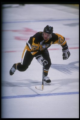 Defenseman Paul Coffey of the Pittsburgh Penguins moves down the ice during a game against the Buffalo Sabres at Memorial Auditorium in Buffalo, New York.