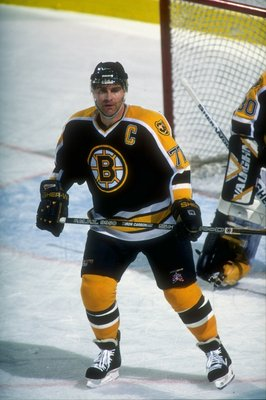 23 Feb 1997:  Defenseman Ray Bourque of the Boston Bruins in action against the Buffalo Sabres during a game at the Marine Midland Arena in Buffalo, New York.  The Sabres defeated the Bruins 5-1. Mandatory Credit: Rick Stewart  /Allsport