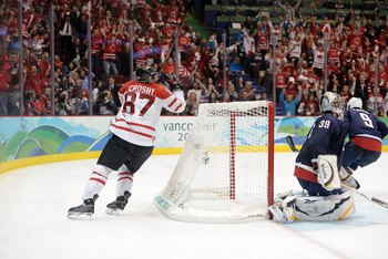 VANCOUVER, BC - FEBRUARY 28:  Sidney Crosby #87 of Canada skates around the net after scoring the match-winning goal in the first overtime during the ice hockey men's gold medal game between USA and Canada on day 17 of the Vancouver 2010 Winter Olympics a