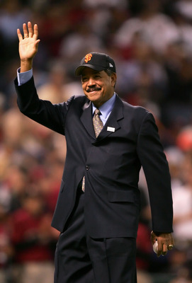 HOUSTON - OCTOBER 26:  Juan Marichal acknowledges the crowd as he and others are announced as members of the Major League Baseball Latino Legends Team before the start of Game Four of the 2005 Major League Baseball World Series between the Chicago White S
