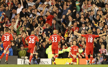 LONDON, ENGLAND - MAY 09:  Maxi Rodriguez of Liverpool celebrates scoring in front of the Liverpool fans during the Barclays Premier League match between Fulham and Liverpool at Craven Cottage on May 9, 2011 in London, England.  (Photo by Scott Heavey/Get