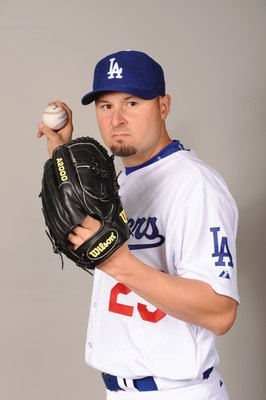 GLENDALE, AZ - FEBRUARY 21:  Jason Schmidt of the Los Angeles Dodgers poses during photo day at Camelback Ranch on February 21, 2009 in Glendale, Arizona. (Photo by Harry How/Getty Images)