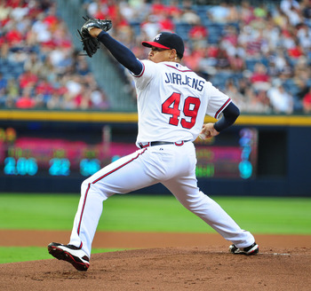 ATLANTA - JULY 1: Jair Jurrjens #49 of the Atlanta Braves pitches against the Baltimore Orioles at Turner Field on July 1, 2011 in Atlanta, Georgia. (Photo by Scott Cunningham/Getty Images)