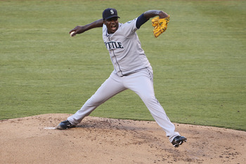 ANAHEIM, CA - JULY 09:  Michael Pineda #36 of the Seattle Mariners pitches against the Los Angeles Angels of Anaheim in the second inning at Angel Stadium of Anaheim on July 9, 2011 in Anaheim, California. The Angels defeated the Mariners 9-3.  (Photo by
