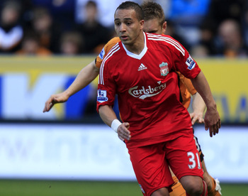 HULL, ENGLAND - MAY 9:  Nabil El Zhar of Liverpool during the Barclays Premier League match between Hull City and Liverpool at the KC Stadium on May 9, 2010 in Hull, England. (Photo by Jed Leicester/Getty Images)