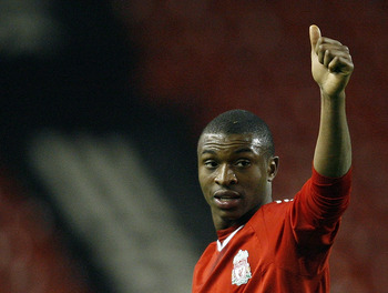 LIVERPOOL, UNITED KINGDOM - FEBRUARY 5: Liverpool's goal scorer David Amoo reacts after the FA Youth Cup match between Liverpool Youth and Chelsea Youth at Anfield Stadium on February 5, 2009 in Liverpool, England. (Photo by Getty Images)