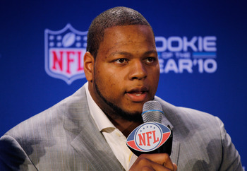DALLAS, TX - FEBRUARY 03:  Ndamukong Suh #90 of the Detroit Lions speaks during a press conference where he accepted Pepsi's 2010 NFL Rookie of the Year Award at the Super Bowl XLV media center on February 3, 2011 in Dallas, Texas. The Green Bay Packers w