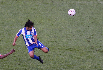 DUBLIN, IRELAND - MAY 18:  Radamel Falcao Garcia of FC Porto scores the opening goal during the UEFA Europa League Final between FC Porto and SC Braga at Dublin Arena on May 18, 2011 in Dublin, Ireland.  (Photo by Julian Finney/Getty Images)
