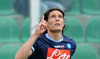 PALERMO, ITALY - APRIL 23:  Edinson Cavani of Napoli celebrates after scoring the opening goal during the Serie A match between US Citta di Palermo and SSC Napoli at Stadio Renzo Barbera on April 23, 2011 in Palermo, Italy.  (Photo by Tullio M. Puglia/Get