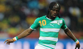 NELSPRUIT, SOUTH AFRICA - JUNE 25:  Gervinho of the Ivory Coast controls the ball during the 2010 FIFA World Cup South Africa Group G match between North Korea and Ivory Coast at the Mbombela Stadium on June 25, 2010 in Nelspruit, South Africa.  (Photo by