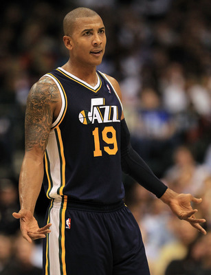 DALLAS, TX - FEBRUARY 23:  Guard Raja Bell #19 of the Utah Jazz at American Airlines Center on February 23, 2011 in Dallas, Texas.  NOTE TO USER: User expressly acknowledges and agrees that, by downloading and or using this photograph, User is consenting