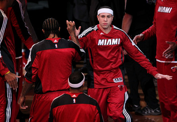 DALLAS, TX - JUNE 05:  Mike Bibby #0 of the Miami Heat greets his teammates during player introductions against the Dallas Mavericks in Game Three of the 2011 NBA Finals at American Airlines Center on June 5, 2011 in Dallas, Texas.  NOTE TO USER: User exp