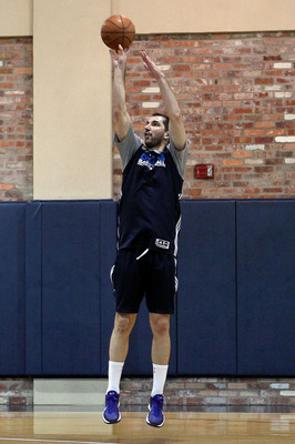 DALLAS, TX - JUNE 04:  Peja Stojakovic of the Dallas Mavericks shoots around on the practice court during a practice session prior to Game 3 of the 2011 NBA Finals at the American Airlines Center on June 4, 2011 in Dallas, Texas. NOTE TO USER: User expres