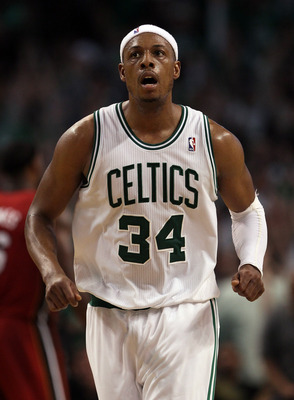 BOSTON, MA - MAY 07:  Paul Pierce #34 of the Boston Celtics celebrates a shot in the second half against the Miami Heat in Game Three of the Eastern Conference Semifinals in the 2011 NBA Playoffs on May 7, 2011 at the TD Garden in Boston, Massachusetts.
