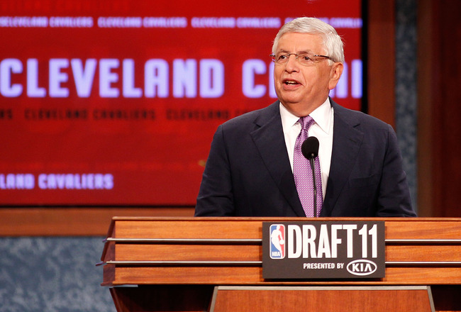 NEWARK, NJ - JUNE 23:  NBA Commissioner David Stern announces that the Cleveland Cavaliers selected Kyrie Irving from Duke with the #1 overall pick in the first round during the 2011 NBA Draft at the Prudential Center on June 23, 2011 in Newark, New Jerse