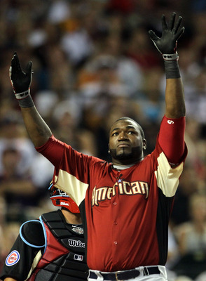 PHOENIX, AZ - JULY 11:  American League All-Star David Ortiz #34 of the Boston Red Sox reacts to a home run during the swing-off following round one of the 2011 State Farm Home Run Derby at Chase Field on July 11, 2011 in Phoenix, Arizona.  (Photo by Jeff