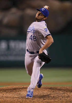 ANAHEIM, CA - JUNE 10:  Joakim Soria #48 of the Kansas City Royals pitches against the Los Angeles Angels of Anaheim at Angel Stadium of Anaheim on June 10, 2011 in Anaheim, California.  (Photo by Jeff Gross/Getty Images)