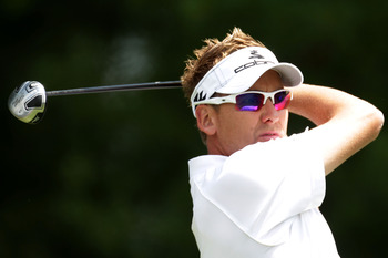 BETHESDA, MD - JUNE 13:   Ian Poulter of England   hits a shot during a practice round prior to the start of the 111th U.S. Open at Congressional Country Club on June 13, 2011 in Bethesda, Maryland.  (Photo by Ross Kinnaird/Getty Images)