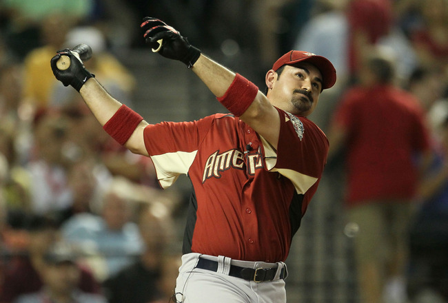PHOENIX, AZ - JULY 11:  American League All-Star Adrian Gonzalez #28 of the Boston Red Sox participates in the second round of the 2011 State Farm Home Run Derby at Chase Field on July 11, 2011 in Phoenix, Arizona.  (Photo by Jeff Gross/Getty Images)