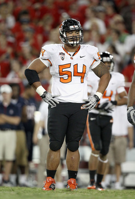 TUCSON, AZ - OCTOBER 09:  Defensive tackle Stephen Paea #54 of the Oregon State Beavers during the college football game against the Arizona Wildcats at Arizona Stadium on October 9, 2010 in Tucson, Arizona.  The Beavers defeated the Wildcats 29-27.  (Pho